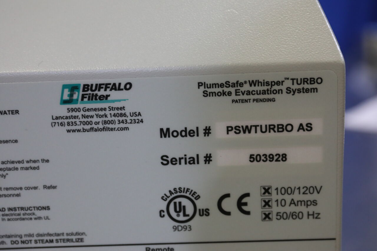 BUFFALO FILTER PlumeSafe Whisper Turbo Smoke Evacuator