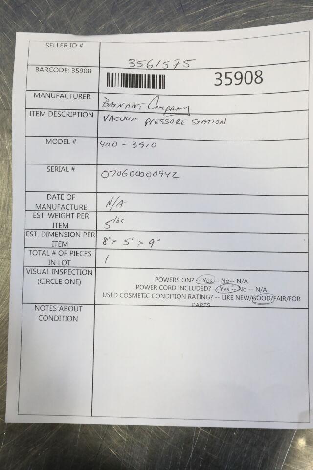 BARNANT COMPANY 400-3910 Vacuum Pump