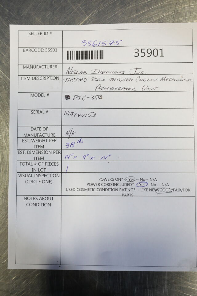 NESLAB INSTRUMENTS FTC-350 Refrigerator Freezer