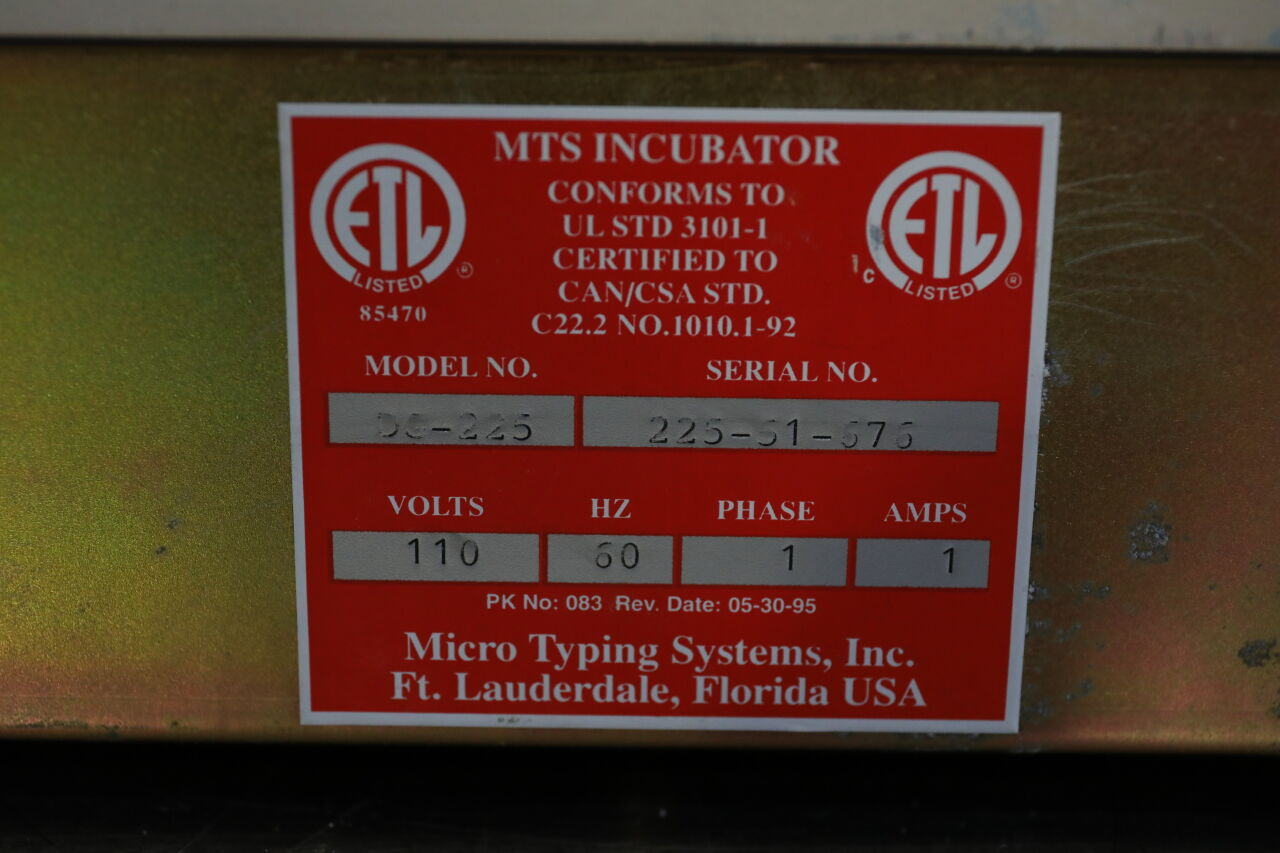 ORTHO DIAGNOSTICS SYSTEM MTS  DC-225 Incubator