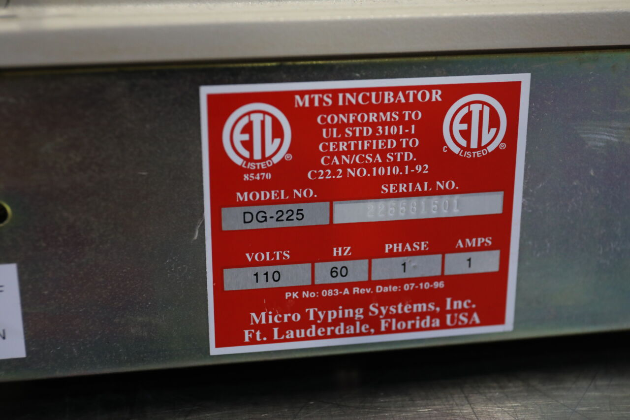 MICRO TYPING SYSTEMS DG-225 Incubator