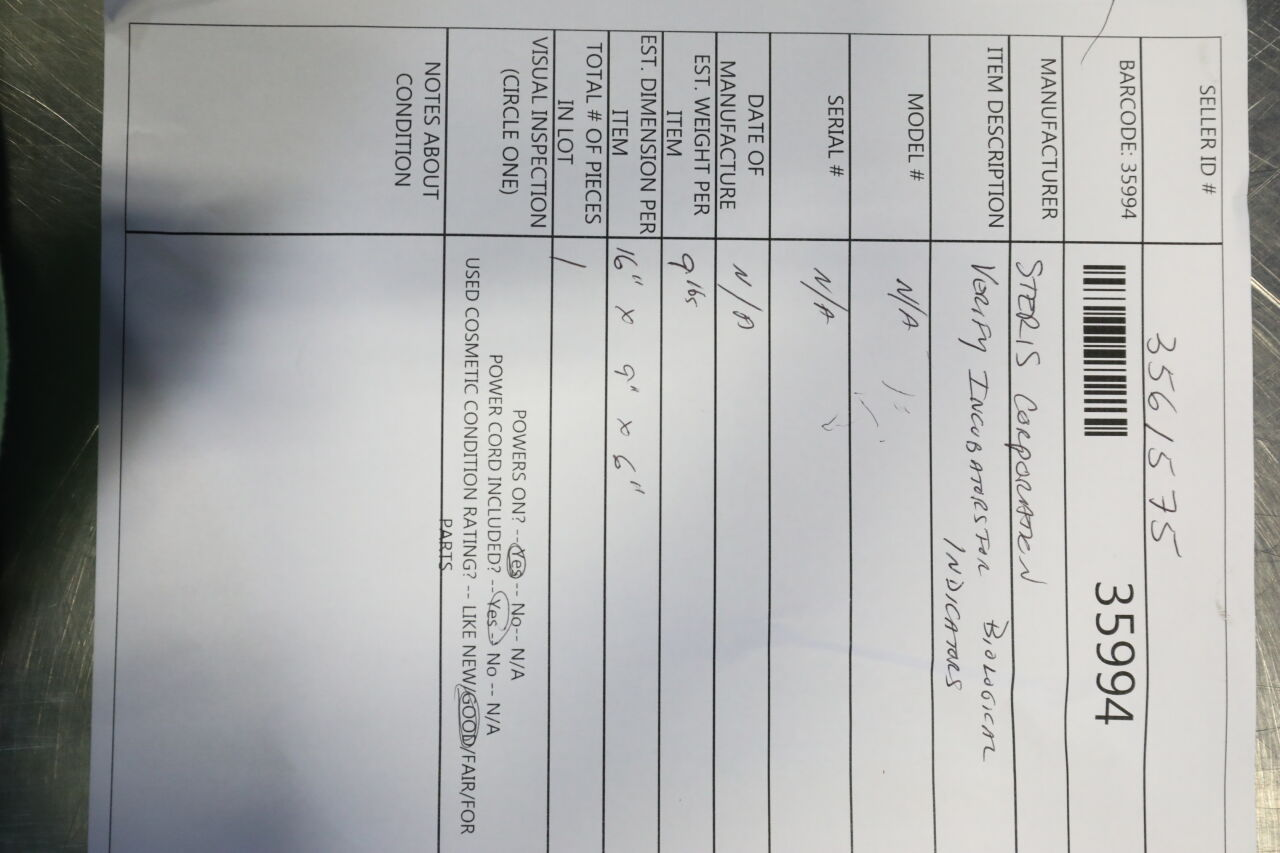 STERIS Verify Incubator