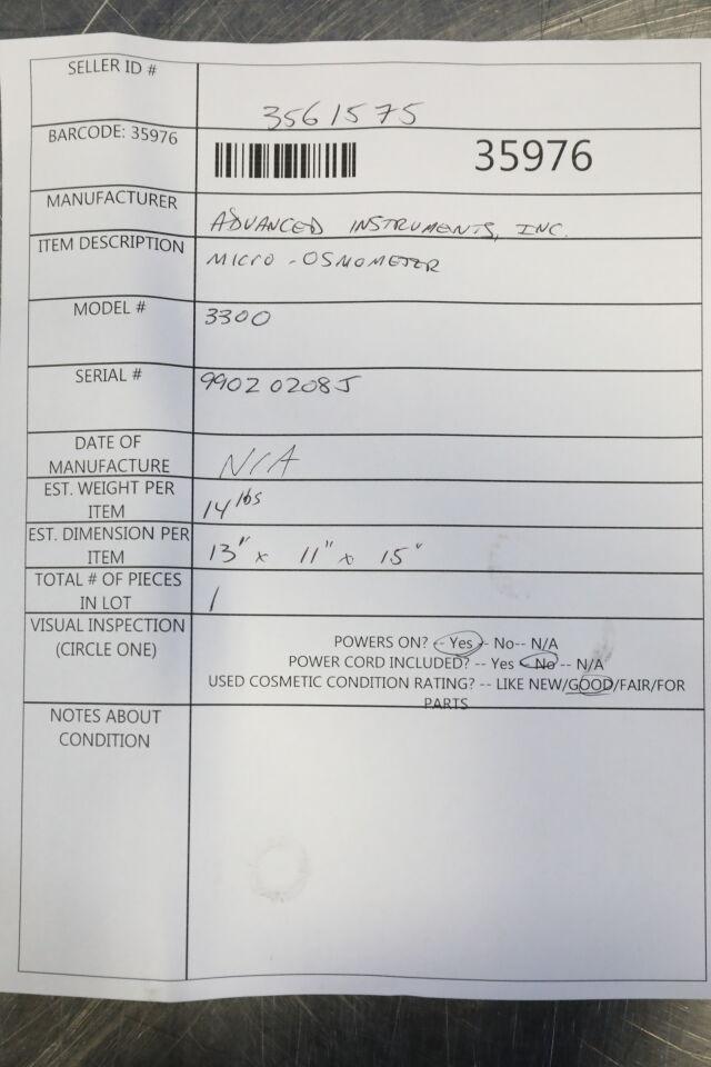 ADVANCED INSTRUMENTS 3300 Osmometer