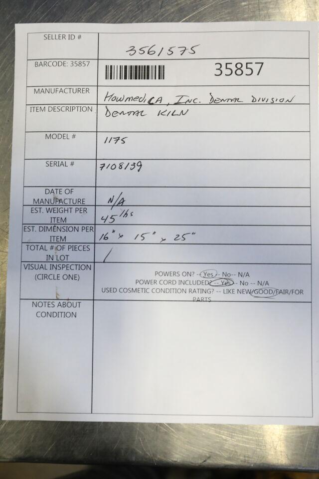 HOWMEDICAL INC 1175 Dental Kiln