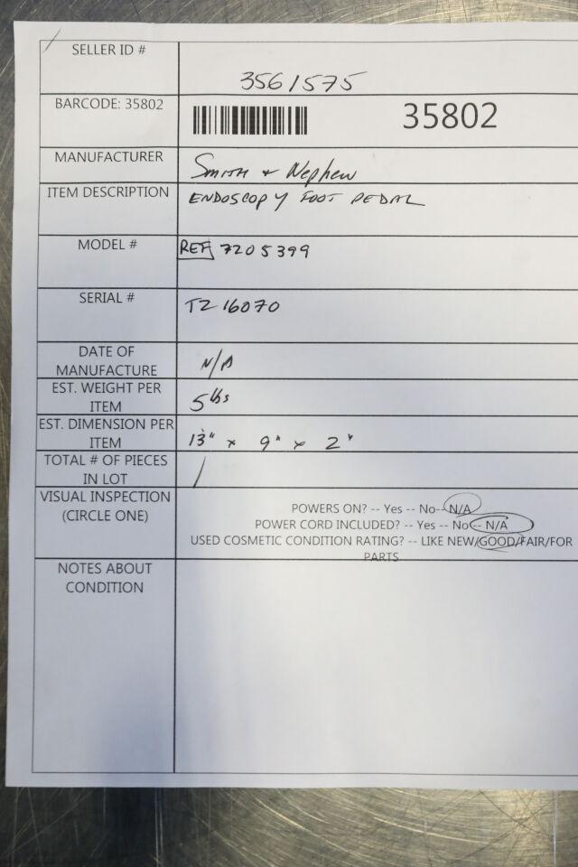 SMITH & NEPHEW 7205399 Endoscopy Foot Pedal