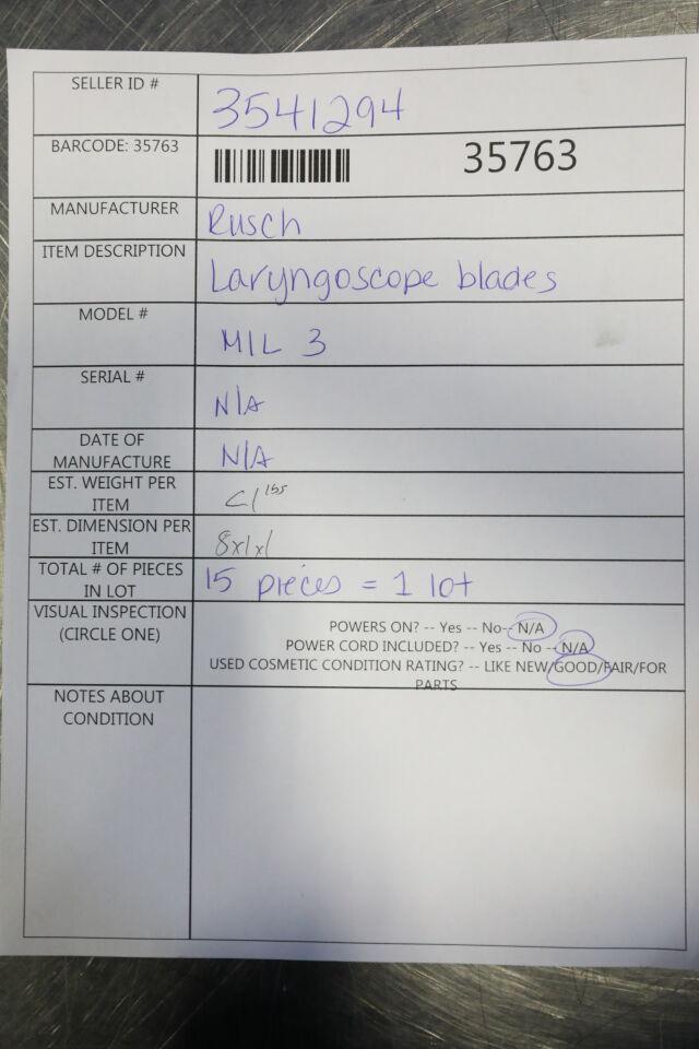 RUSCH Mil 3  - Lot of 15 Laryngoscope