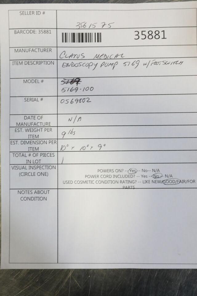 CLATUS MEDICAL 5169 Arthroscopy Pump