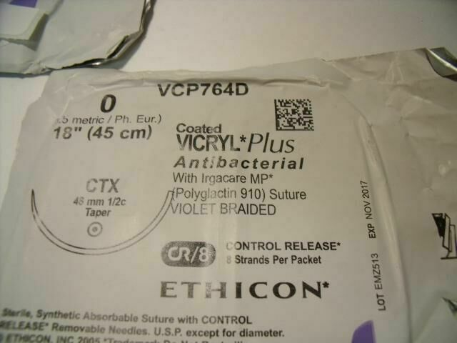 ETHICON VCP764D  VICRYL PLUS ANTIBACTERIAL VIOLET BRAIDED SUTURE