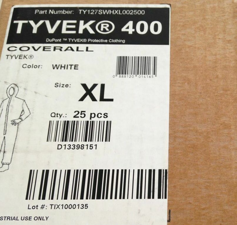 DUPONT TY127SWHXL002500 Tyvek Protective Coverall , XL (25/Box)