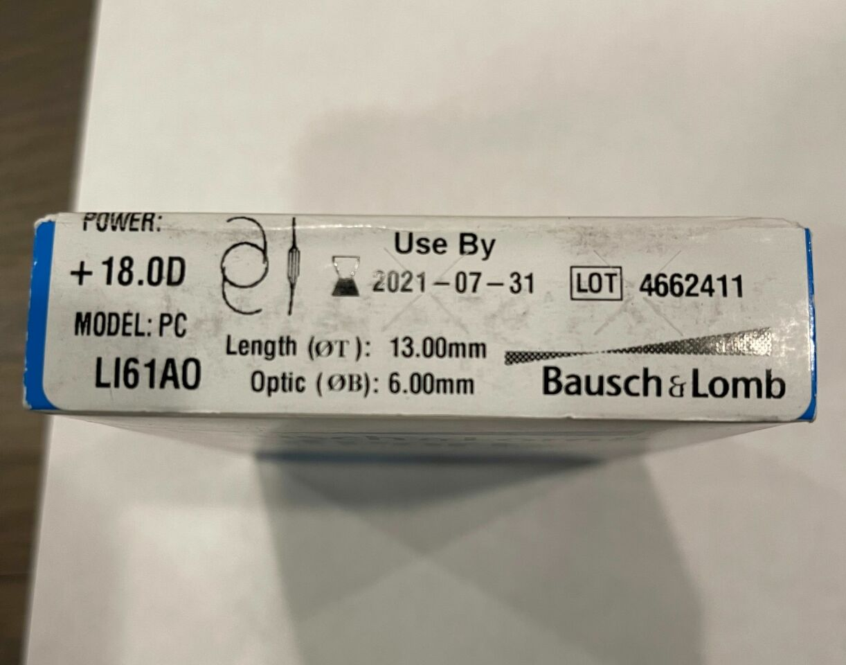 BAUSCH & LOMB SofPort Advanced Optics Aspheric Intraocular Lens Power + 18.0D Model: PC LI61A0 Exp. Date 07/31/2021 Ref #: LI61AOR1800
