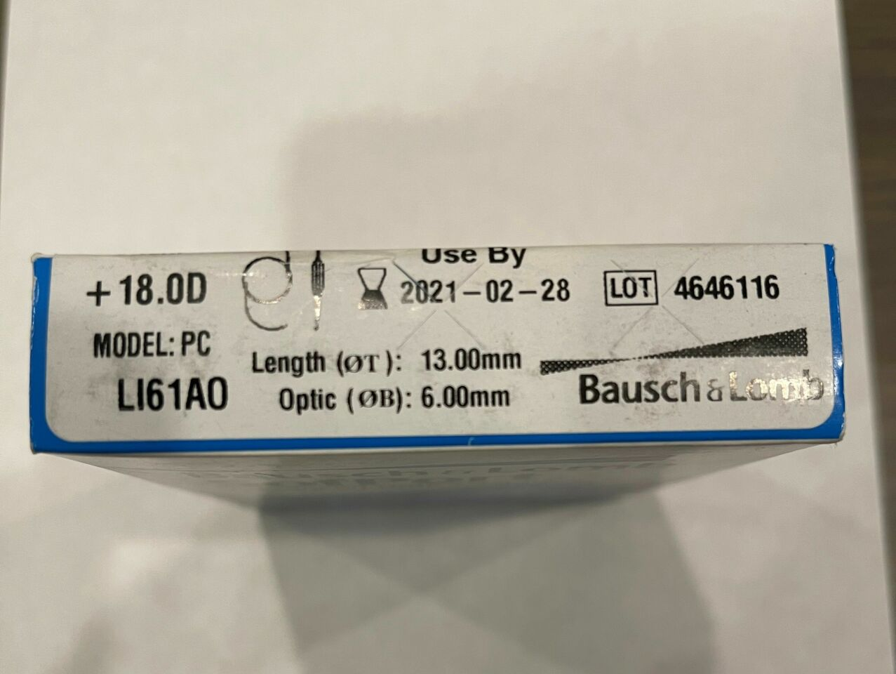 BAUSCH & LOMB SofPort Advanced Optics Aspheric Intraocular Lens Power + 18.0D Model: PC LI61A0 Exp. Date 02/28/2021 Ref #: LI61AOR1800