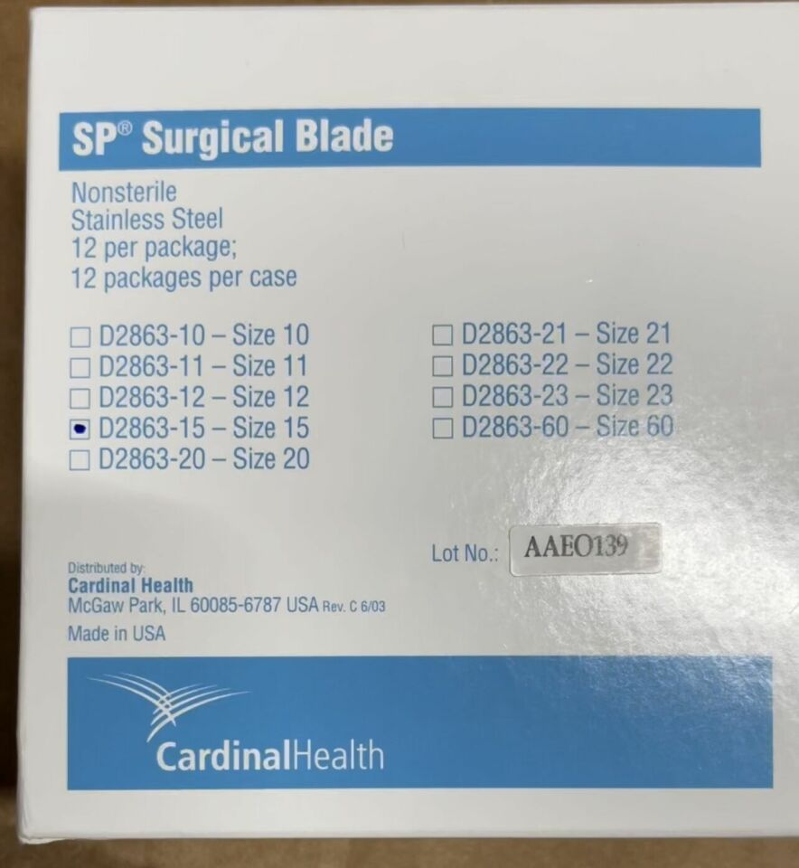 CARDINAL HEALTH New  Surgical Blades, Size 15, Box of 144 Blades Ref # D2863-15 Scalpels and Blades
