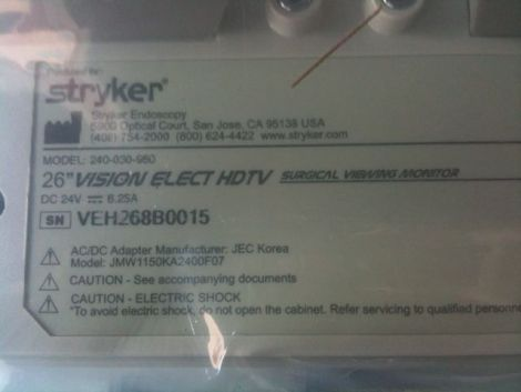 STRYKER Vision Elect 26 Video Endoscopy for sale